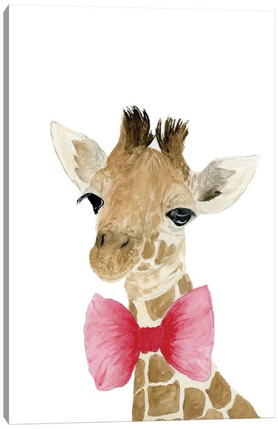 Giraffe With Bow Canvas Art Print