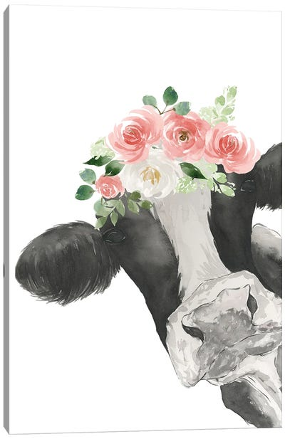 Hello Cow With Flower Crown Canvas Art Print