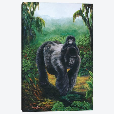 Gorrilla Back Ride Canvas Print #LCR17} by Laura Curtin Canvas Art