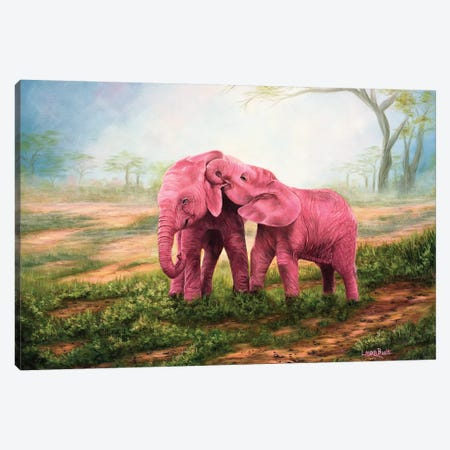 Pink Elephants Canvas Print #LCR32} by Laura Curtin Canvas Art Print