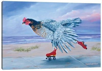 Red Skates At The Beach Canvas Art Print