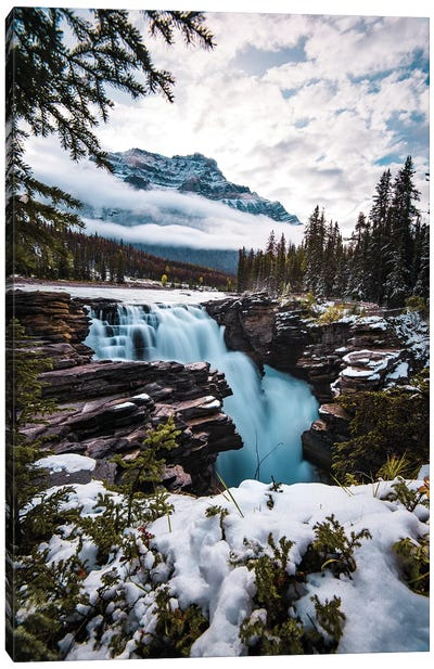 Wintry Waterfall Canvas Art Print