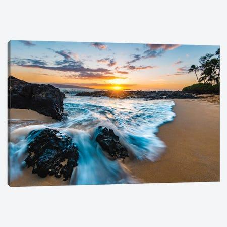 Secret Beach Sunset Canvas Print #LCS122} by Lucas Moore Canvas Artwork