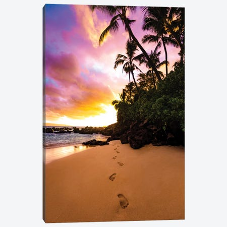 Footprints In The Sand Canvas Print #LCS33} by Lucas Moore Canvas Wall Art
