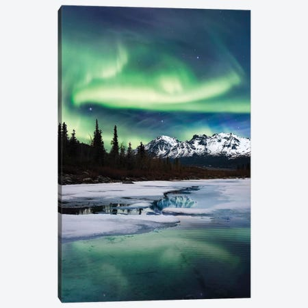 Northern Lights Landscape 3-Piece Canvas #LCS67} by Lucas Moore Canvas Art