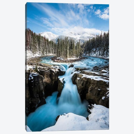 Snowy Sunwapta Falls Canvas Print #LCS88} by Lucas Moore Canvas Print