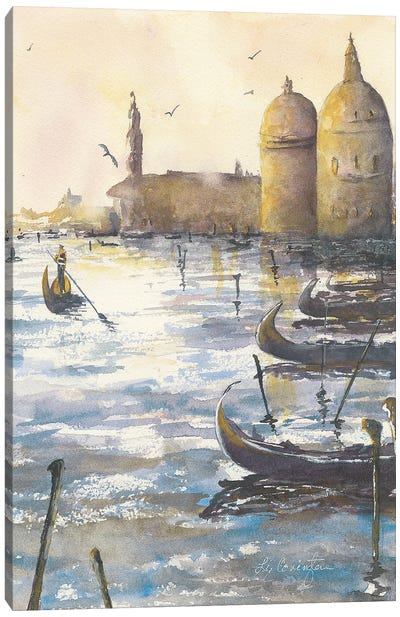 Gondolas At Dusk Canvas Art Print