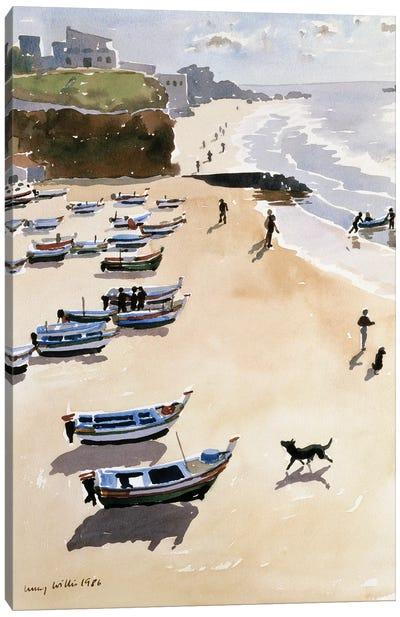 Boats On The Beach, 1986 Canvas Art Print