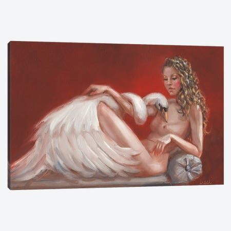 Leda And The Swan Canvas Print #LCZ19} by Liese Chavez Art Print