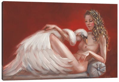 Leda And The Swan Canvas Art Print