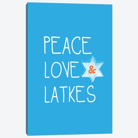 Peace, Love, Latkes Canvas Print #LDA121} by Linda Woods Canvas Artwork