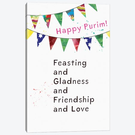 Purim Card Canvas Print #LDA125} by Linda Woods Art Print