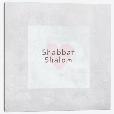 Shabbat Shalom Heart Canvas Print #LDA131} by Linda Woods Art Print