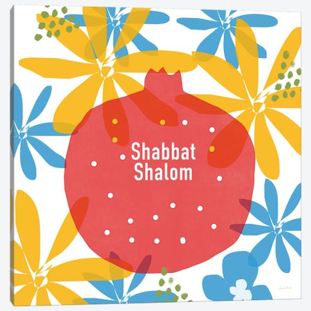Shabbat Shalom Pom Canvas Print #LDA132} by Linda Woods Canvas Print