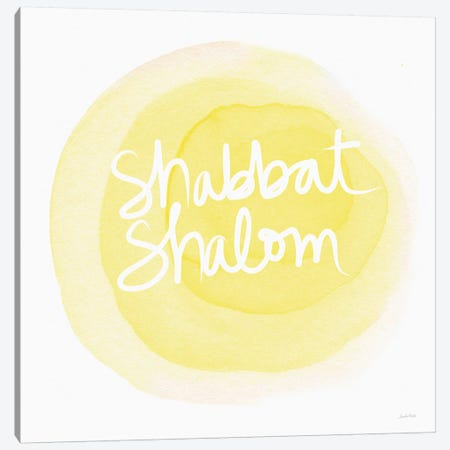 Shabbat Shalom Yellow Canvas Print #LDA133} by Linda Woods Canvas Print