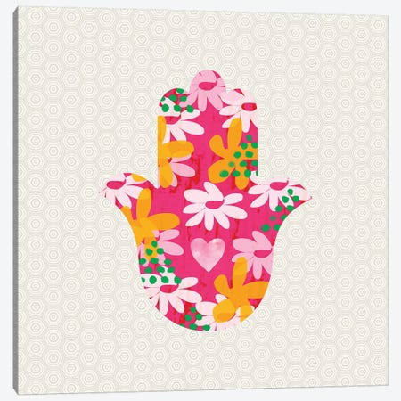 Summer Garden Hamsa Canvas Print #LDA140} by Linda Woods Canvas Wall Art
