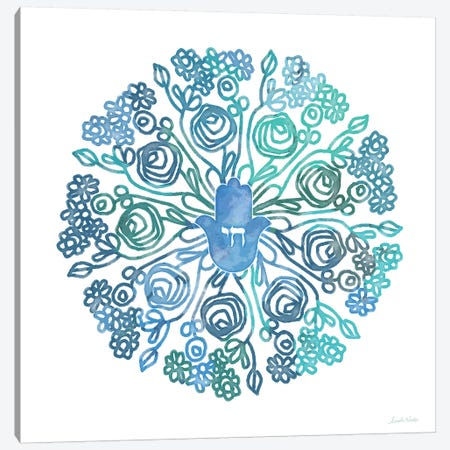 WC Hamsa Mandala Canvas Print #LDA148} by Linda Woods Canvas Art