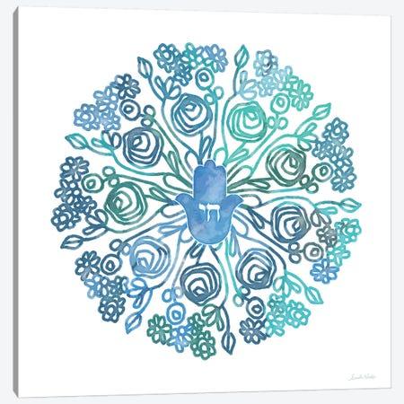 WC Hamsa Mandala Canvas Print #LDA148} by Linda Woods Canvas Art