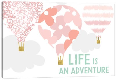 Life Is An Adventure, Pink Canvas Art Print