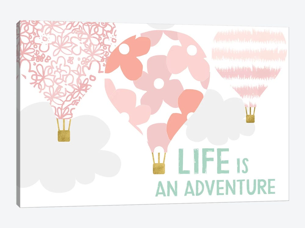 Life Is An Adventure, Pink by Linda Woods 1-piece Canvas Artwork