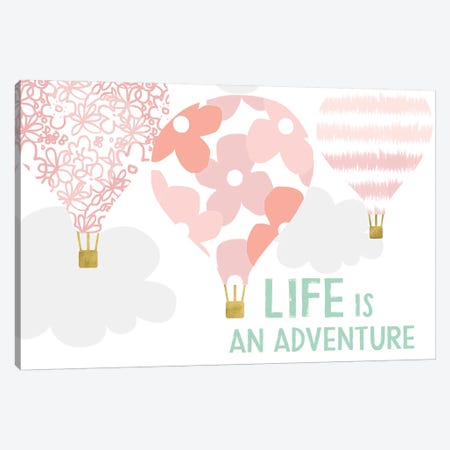 Life Is An Adventure, Pink Canvas Print #LDA16} by Linda Woods Canvas Wall Art