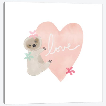 Sloth Love I Canvas Print #LDA19} by Linda Woods Canvas Print