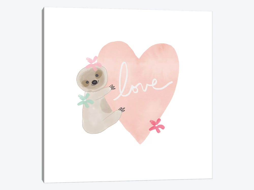 Sloth Love I by Linda Woods 1-piece Canvas Art Print