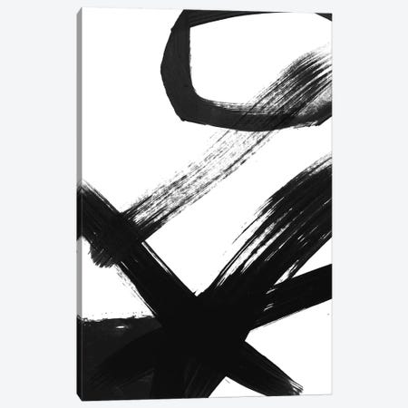 Black & White Brush Stroke I Canvas Print #LDA2} by Linda Woods Canvas Wall Art