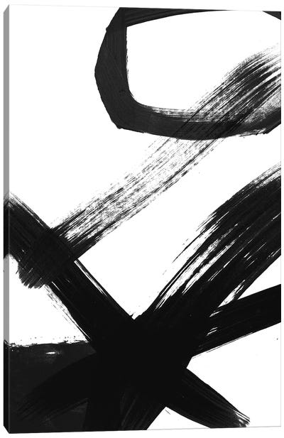 Black & White Brush Stroke I Canvas Art Print