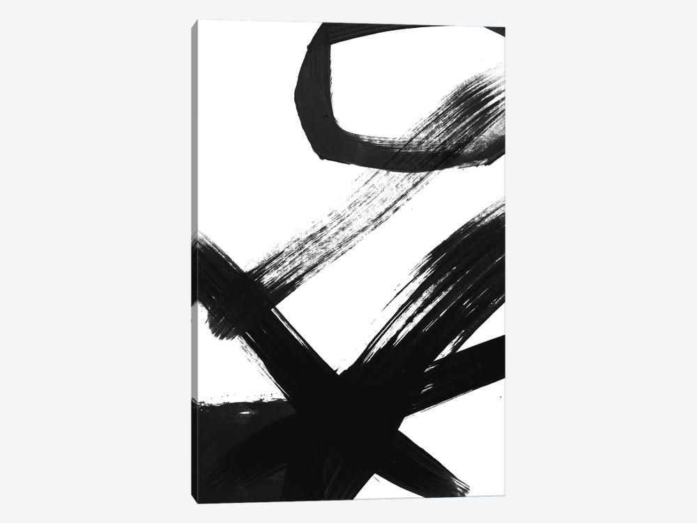 Black & White Brush Stroke I by Linda Woods 1-piece Canvas Artwork