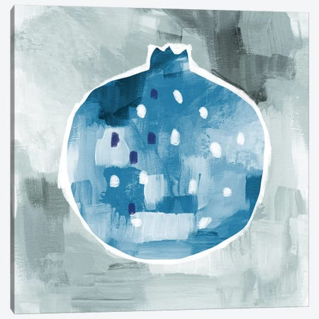 Blue Pom 3-Piece Canvas #LDA31} by Linda Woods Art Print