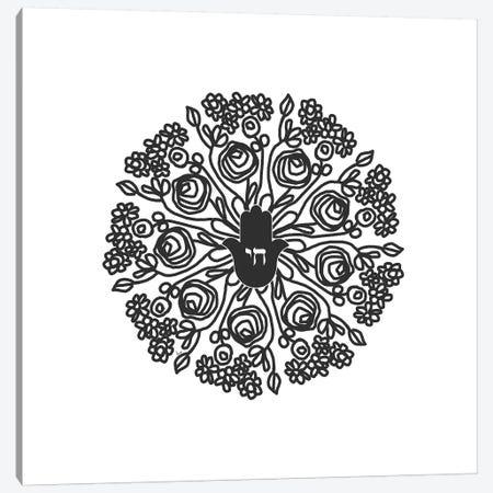 Hamsa Mandala in Black And Whtie Canvas Print #LDA33} by Linda Woods Canvas Print