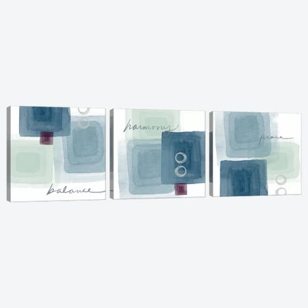 Balance+Harmony=Peace Triptych Canvas Print Set #LDA3HSET001} by Linda Woods Canvas Print