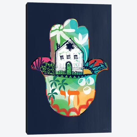 Colorful Home Hamsa Canvas Print #LDA43} by Linda Woods Canvas Artwork