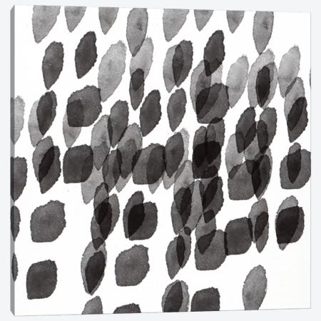 Black And White Drops Pattern Canvas Print #LDA5} by Linda Woods Canvas Print