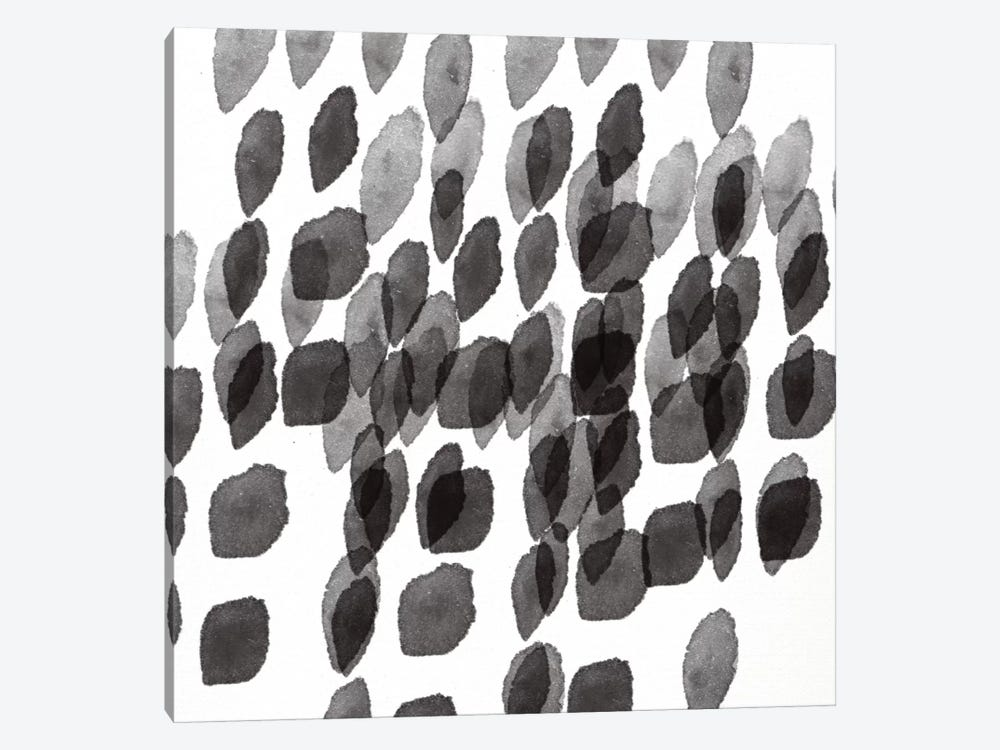 Black And White Drops Pattern by Linda Woods 1-piece Canvas Art Print