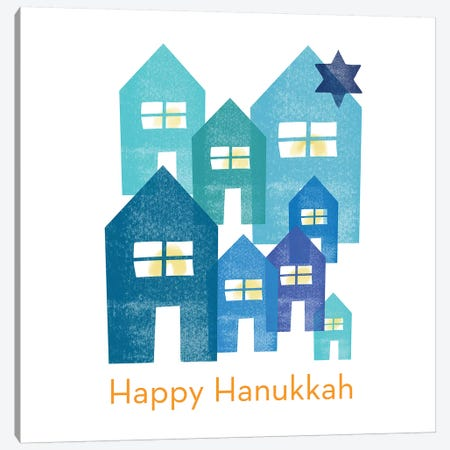 Hanukkah Houses Square Canvas Print #LDA63} by Linda Woods Canvas Wall Art