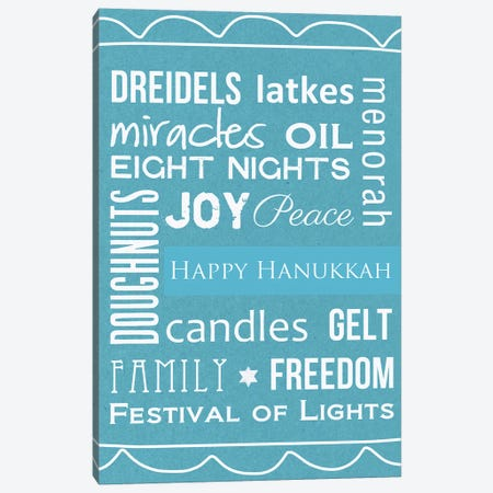 Hanukkah Words Canvas Print #LDA69} by Linda Woods Canvas Artwork