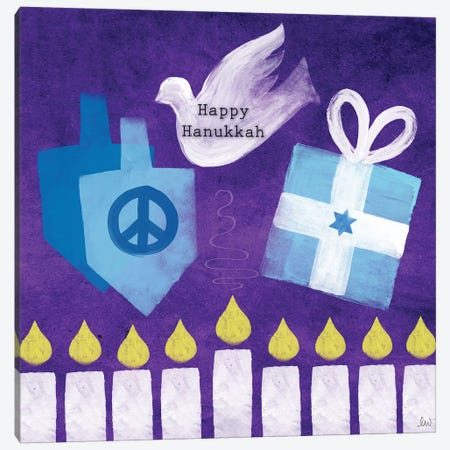 Happy Hanukkah I Canvas Print #LDA71} by Linda Woods Canvas Art Print