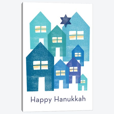 Happy Hanukkah Neighborhood Canvas Print #LDA76} by Linda Woods Canvas Wall Art