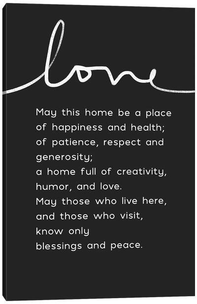 Home Blessing BW Canvas Art Print