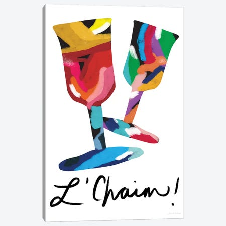 L'Chaim Glasses Canvas Print #LDA87} by Linda Woods Canvas Art Print