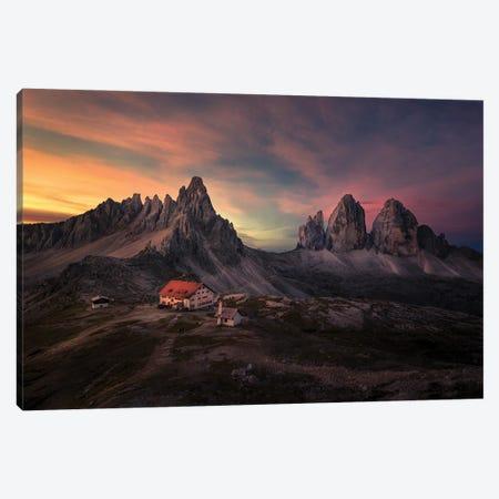 Sun Rise At Tre Cime Di Lavaredo Canvas Print #LDE14} by Larry Deng Canvas Artwork