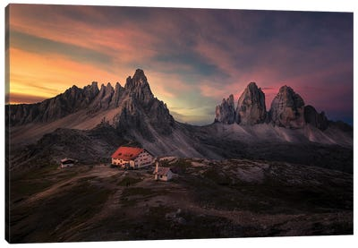 Sun Rise At Tre Cime Di Lavaredo Canvas Art Print