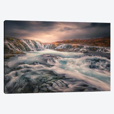 Sunset At Bruarfoss Canvas Print #LDE15} by Larry Deng Canvas Artwork