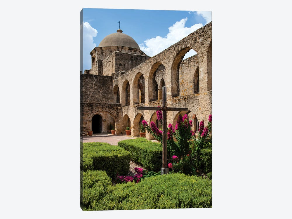 Arched Portico at Mission San Jose in San Antonio by Larry Ditto 1-piece Canvas Art Print