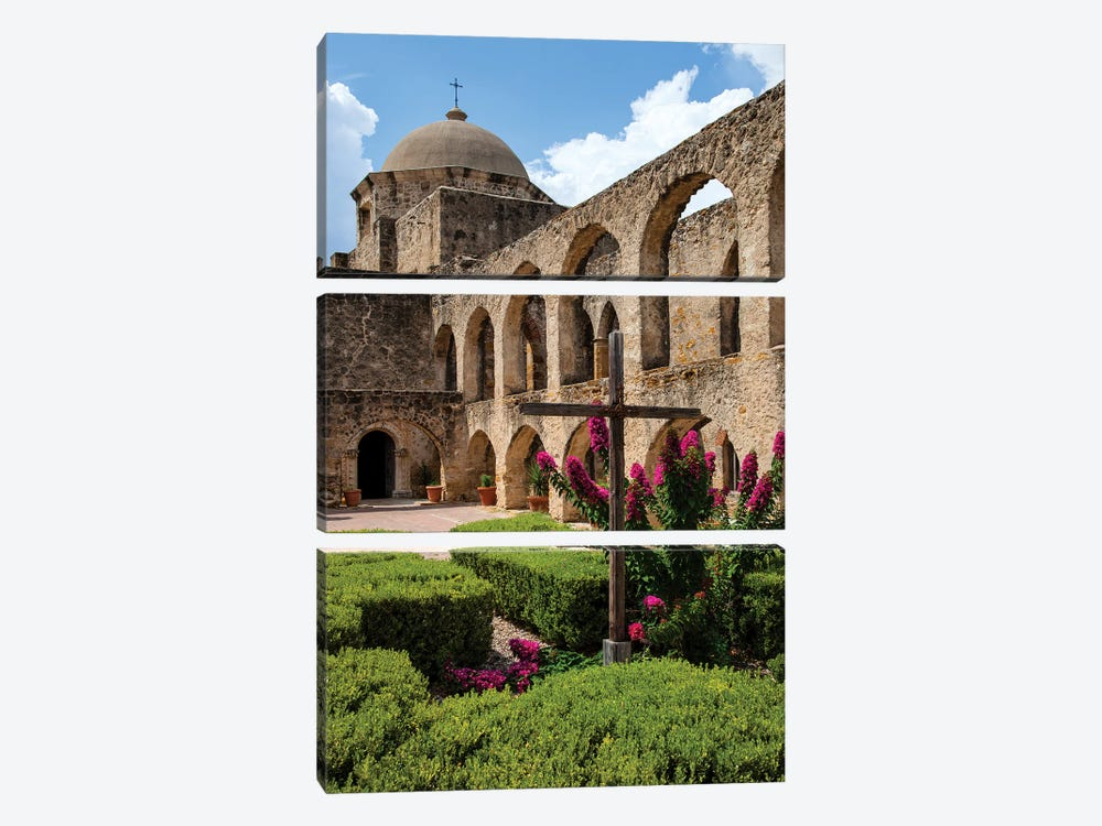 Arched Portico at Mission San Jose in San Antonio by Larry Ditto 3-piece Canvas Print