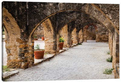 Arched Portico at Mission San Jose in San Antonio Canvas Art Print