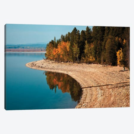 Autumn Shoreline Landscape, Jackson Lake, Grand Teton National Park, Wyoming, USA Canvas Print #LDI3} by Larry Ditto Canvas Wall Art