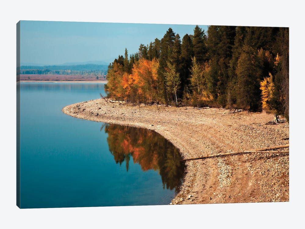 Autumn Shoreline Landscape, Jackson Lake, Grand Teton National Park, Wyoming, USA by Larry Ditto 1-piece Canvas Print